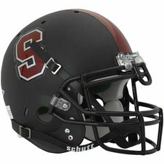 Schutt Stanford Cardinal Full Size Authentic Football Helmet - Black Matte Black Helmet, College Football Helmets, Stanford Cardinal, Stanford University, Colleges, Cardinals, Conference, Decals, Big