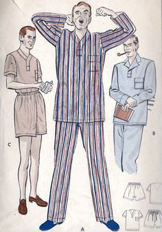 "1950s Men's Pajamas Short or Long Trousers Vintage Sewing Pattern for Men's Pajamas, Butterick 5546 chest 38"" to 40"""