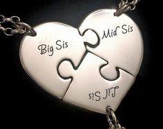 Personalizada de hermana collar de 3 collares de hermana