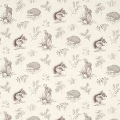 Curtains in Squirrel & Hedgehog Fabric - Walnut/Linen (225523) - Sanderson Woodland Walk Fabrics Collection