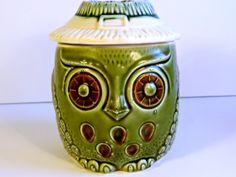 Vintage Avocado Owl Cookie Jar Made in Japan by TimelessTreasuresbyM on Etsy