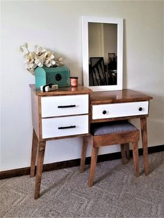 Mid Century Modern Makeup and Vanity Table by Meagans Mood Designs Home Decor Furniture, Diy Home Decor, Furniture Design, Furniture Cleaning, Classic Furniture, Modern Furniture, Mid Century Modern Vanity, Dressing Table Design, Chic Living Room