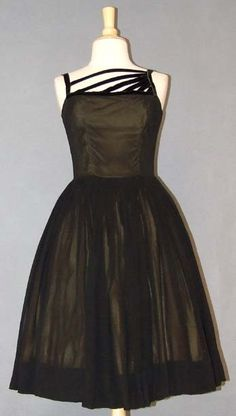 Mitzi Morgan Black Chiffon & Olive Acetate Cocktail Dress w/ Velvet Bands