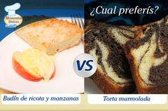 Budín de ricota y manzanas VS Torta marmolada. ¿Cuál de estos dos postres preferís?