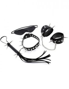 When you are looking for extreme performance from your favorite fetish gear, the Rock Hard Bondage Kit is the perfect all in one collection to deliver the results. This advanced bondage kit is perfect for experienced couples who dare to do things differently! The super-sharp collar and cuff set make a statement without saying a word, while the the spiked Cat O' Nine Tails Flogger puts your subject in place with each crack of the leather tresses. The super sharp metal spikes will send chills…