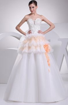 White Cinderella Church Sweetheart Sleeveless Court Train Flower Bridal Gowns