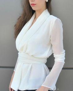 "Feminine Chiffon Top / White Women Shirt / Extravagant Chiffon Blouse / Elegant Long Sleeved Top with Belt – ""Tiffany case"" White Shirts Women, White Women, Fall Shirts, Summer Shirts, Chiffon Shirt, Chiffon Tops, Chemises Sexy, Sexy Shirts, Shirt Style"