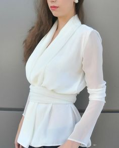 White Women Shirt / Chiffon Shirt / Elegant by MDSewingAtelier