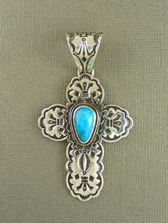 Silver Pilot Mountain Turquoise Cross Pendant for $249.00 | Native American Jewelry
