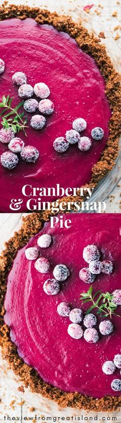 This Cranberry Pie with its spicy gingersnap crumb crust and silky cranberry curd filling brings a little va-va-voom to the traditional dessert table ~ this vibrant pie going to be everybody's holiday favorite! #pie #cranberries #holidays #Thanksgiving #thanksgivingpie #holidaydessert #crumbcrust #cranberrycurd #cranberrypie @gingernsapcrust #gingersnaps