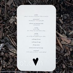 DIY Wedding Programs The wedding details were printed on natural kraft stock in black ink and had asymmetrical hearts cut out of the bottom of each card. Wedding Programs Simple, Simple Weddings, Real Weddings, Ceremony Programs, Wedding Wishes, Our Wedding, Wedding Things, Spring Wedding, Wedding Bells