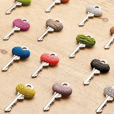 Keys with a textured Sugru cover