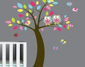 Vinyl Wall Decals Colorful Leaf Tree Decal with Owls Birds