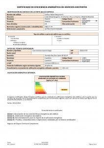 Ejemplo de Certificado Energético. Primera hoja donde se muestra la Calificación Energética del inmueble http://www.certicalia.com/