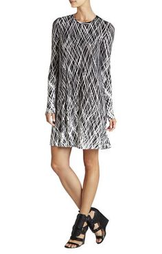 Jeanna Crewneck Long-Sleeve Dress | BCBG