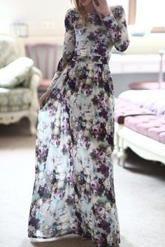 Long Sleeve Full Floral Maxi Dress