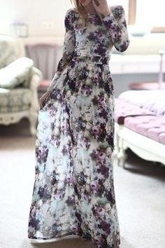 Long Sleeve Full Floral Maxi Dress