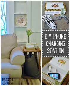 DIY Charging Station - old cigar boxes from my trip to Round Top, TX transform easily into a DIY hide away phone charging station. www.huntandhost.com