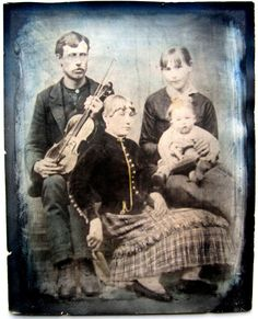 Large Antique Hand Tinted Photo Civil War Era Man with Violin Family Sullivan