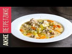 Greek chicken soup by Greek chef Akis Petretzikis. An aromatic, delicious Greek recipe for a hearty soup with juicy chicken and a traditional egg lemon sauce! Greek Desserts, Greek Recipes, Soup Recipes, Chicken Recipes, Cooking Recipes, Greek Chicken, Chicken Soup, One Pan Mexican Quinoa, Kitchens