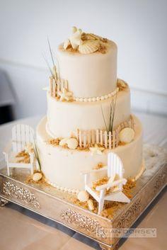 Adorable seaside themed cake: http://www.stylemepretty.com/massachusetts-weddings/chatham/2015/04/17/nautical-cape-cod-wedding/   Photography: Brian Dorsey - http://briandorseystudios.com/
