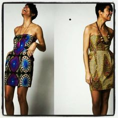 African print strapless dresses
