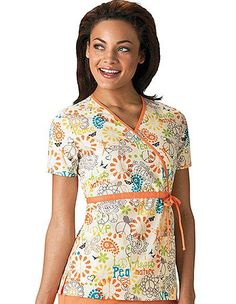 Style Code: (CH-4788PE) A stunning Cherokee scrub top for women in Peace, Love, Paisley print designs. This scrub top comes in a mock wrap style is designed with two functional pockets to keep your tools handy. Meanwhile, the contrast color band along the neckline and waist enhance its feminine style.