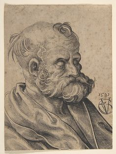 Urs Graf (Swiss, ca. 1485–1529/30). Bust of a Bearded Old Man, 1521. The Metropolitan Museum of Art, New York. Rogers Fund, 1997 (1997.19)