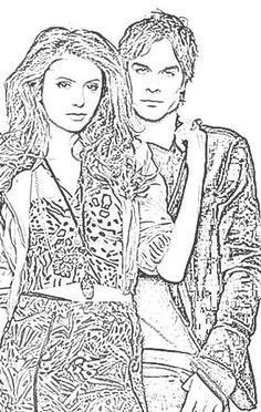 Coloriage De Vampire Diaries With Images Vampire Coloring Pages Adult Coloring