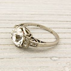 Vintage 2.06 Carat Old European Cut Diamond Engagement Ring. $19,500.00, via Etsy.