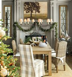 Gray paint color in Ballard Designs catalog; redo living room pain color and mantle. also repaint interior front door this grey Ballard Designs, Noel Christmas, Country Christmas, French Christmas, Grey Paint Colors, Gray Paint, Neutral Colors, Estilo Country, Interior And Exterior