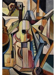 Instruments de musique à cordes - Huile sur toile, 1999 - Georges Braque