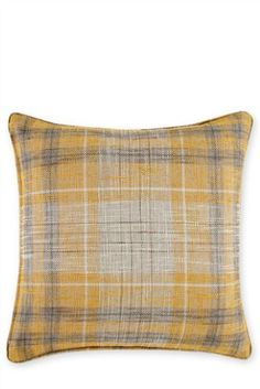 Small Ochre Astley Woven Boucle Check Cushion