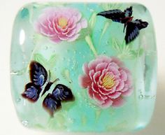 Pink Paeony Flower & Butterfly Satake Glass by AyakoGlassGarden, ¥4800