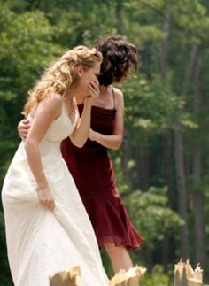 Haley & Karen looking for Nathan after diving into the water to save Uncle Cooper & Rachel on their way to the airport after renewing their vows