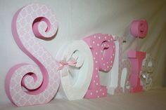 Artículos Similares A Decorativos Niña Guardería Letras Letra Madera 6 Set Personalizado Rosa Y Blanco Damasco Nombre De La Pared