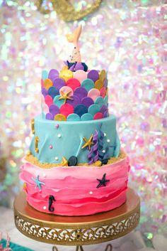 Mermaid cake from a Magical Mermaid Birthday Party on Kara's Party Ideas | KarasPartyIdeas.com (17)