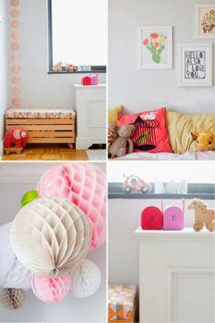 Cama kura de ikea en dormitorio para niña: blanco, rosa y cobre : Baby-Deco
