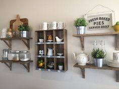 Farmhouse kitchen shelves.
