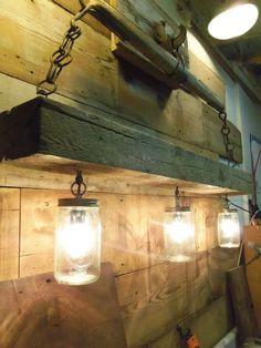 Reclaimed Wood Beam Mason Jar Chandelier with Antique Horse Yoke | eBay