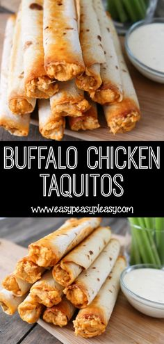 Buffalo Chicken Taquitos For The Win! - Easy Peasy Pleasy Buffalo Chicken Taquitos for the win! Score big with your family on a week night or anytime you need an appetizer. It's a sure crowd pleaser! Appetizer Recipes, Dinner Recipes, Party Appetizers, Yummy Appetizers, Guacamole, Chicken Taquitos, Buffalo Chicken Tacos, Good Food, Yummy Food