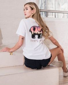 3d8329f8e Ivory Ella Ella Fit White Sunset In The City Tee Found on my new favorite  app