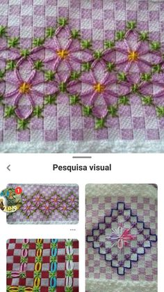 Hand Embroidery Patterns, Diy Embroidery, Cross Stitch Embroidery, Chicken Scratch Embroidery, Gingham Fabric, Filet Crochet, Hand Stitching, Needlework, Projects To Try