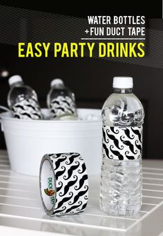 Use Duct Tape as Water Bottle Wraps   - - - http://formalfringe.com/2012/09/25/use-duct-tape-as-water-bottle-party-labels/#