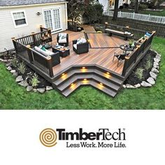 deck and patio designs deck design best deck design ideas on deck decks and patio deck patio images Backyard Patio Designs, Backyard Projects, Deck Patio, Back Deck Designs, Landscaping Around Deck, Deck Bar, Gazebos, Deck Lighting, Lighting Ideas