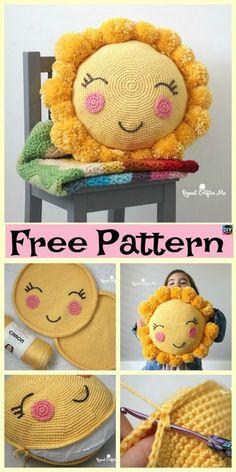 PomPom Crocheted Sunshine Pillow - Free Pattern Crocheted S. - PomPom Crocheted Sunshine Pillow – Free Pattern Crocheted S…, - Crochet Pillow Patterns Free, Crochet Flower Patterns, Crochet Flowers, Free Crochet, Free Pattern, Knitting Patterns, Crochet Ideas, Crochet Home, Crochet For Kids