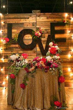 27 Cool Sweetheart Wedding Table Backdrops To Try: a reclaimed wood backdrop with large LOVE letters and bold blooms Wedding Reception Backdrop, Wedding Table, Rustic Wedding, Our Wedding, Dream Wedding, Wedding Ideas, Trendy Wedding, Wedding Cakes, Wedding Inspiration