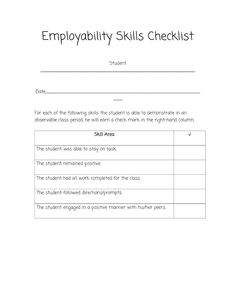 Printables Employability Skills Worksheets stemnet employability skills 11 16 years business studies sped head checklist