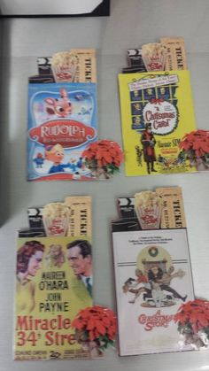 I designed these classic holiday film poster table placards