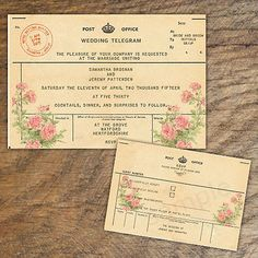Vintage Travel Wedding Invitation